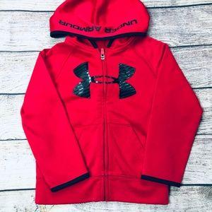 Under Armour 4T red/black zip front hoodie